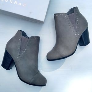 LC Lauren Conrad • silver studded gray ankle boots